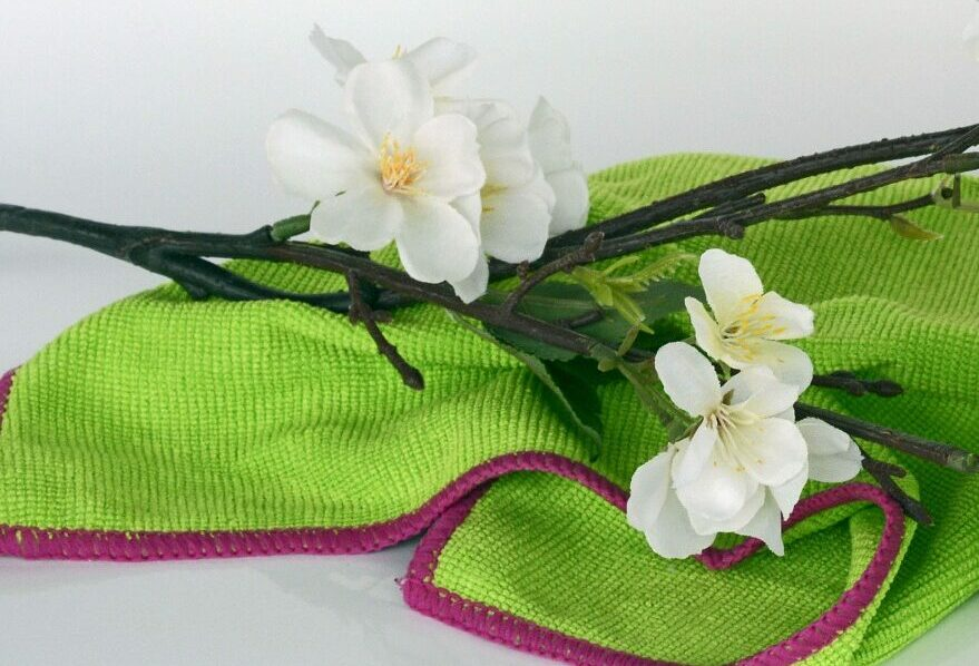 Frühlingsputz - Putztuch und Blume